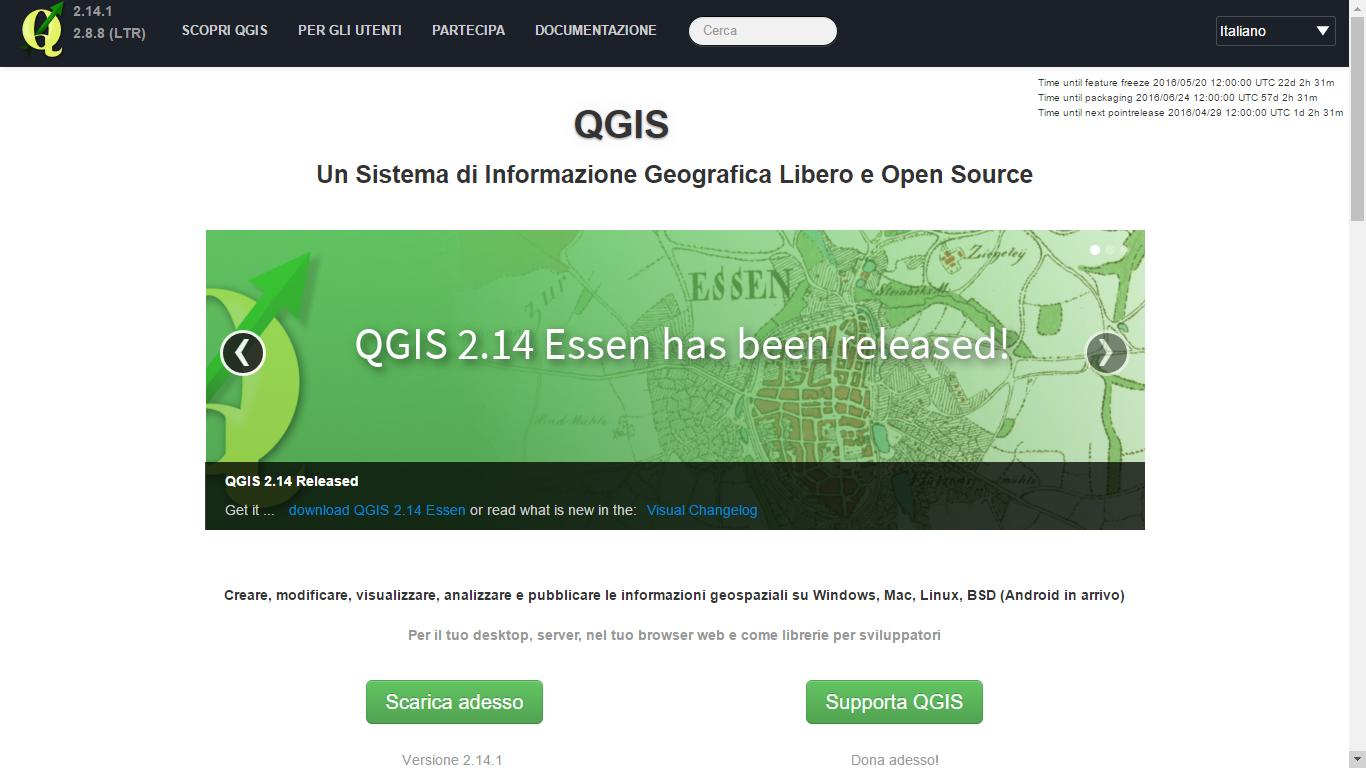 Quantum GIS - Schermata iniziale