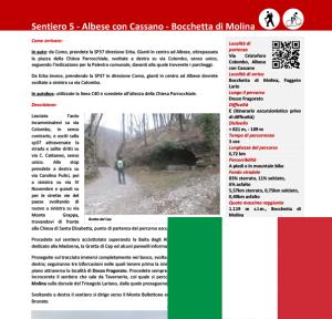 sentiero da Albese a Bocchetta di Molina ITA