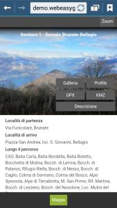 WebApp della Sentieristica Triangolo Lariano - Popup