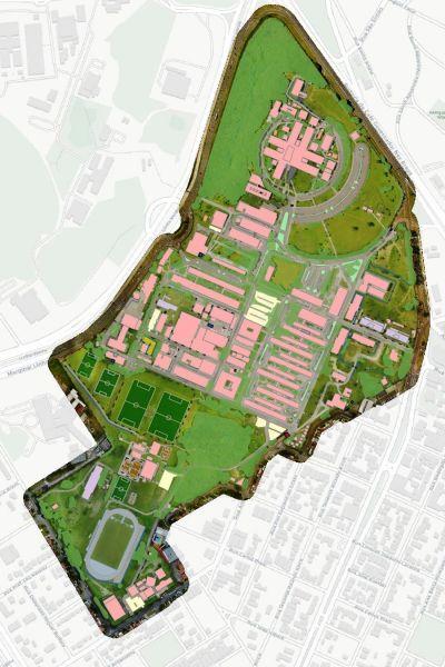 sovrapposizione ortofoto edifici campus universitario